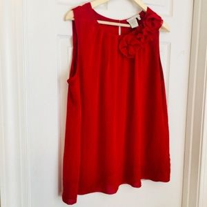 Fred David Tops - {Fred David} Red Sleeveless Polyester Blouse